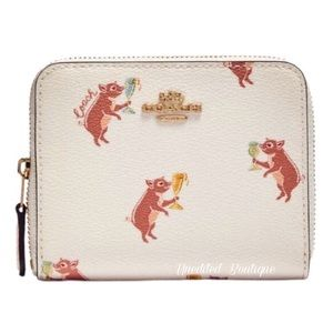 COACH Party Pig Small Zip Wallet In Printed Canvas